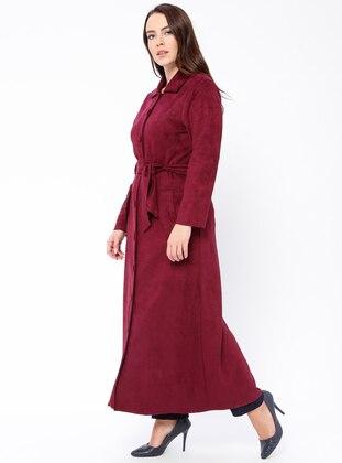 Fuchsia - Unlined - Point Collar - Plus Size Coat