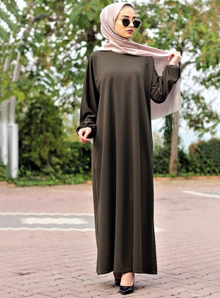Green - Khaki - Unlined - Crew neck - Abaya