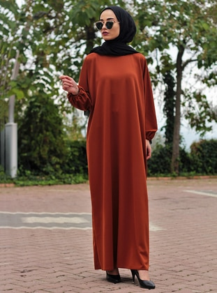 Terra Cotta - Unlined - Crew neck - Abaya