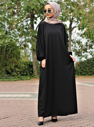 Black - Unlined - Crew neck - Abaya - Gabra
