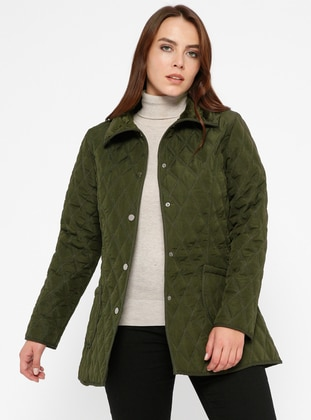 Khaki - Unlined - Point Collar - Plus Size Coat - ECESUN