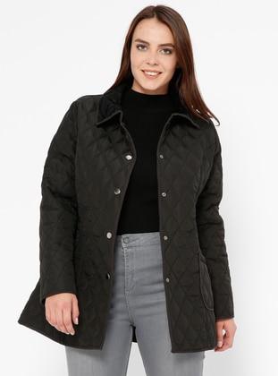 Black - Unlined - Point Collar - Plus Size Coat - ECESUN