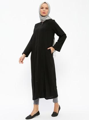 Black - Unlined - Crew neck - Cotton - Abaya