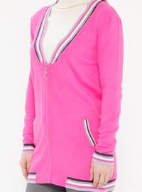 Fuchsia - Stripe - Crew neck - Acrylic - Cardigan