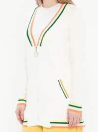 Ecru - Stripe - Crew neck - Acrylic - Cardigan