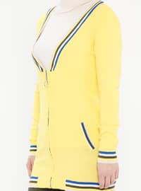 Yellow - Stripe - Crew neck - Acrylic -  - Cardigan