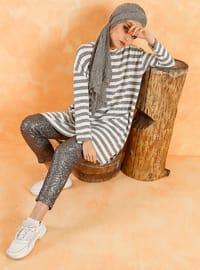 Smoke-coloured - Stripe - Polo neck - Cotton -  - Tunic