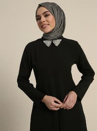 Black - Point Collar - Unlined - Dresses