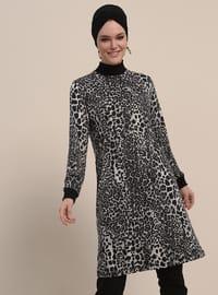 Black - Gray - Leopard - Polo neck - Tunic