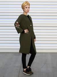 Khaki - Shawl Collar - Acrylic -  - Cardigan
