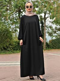 Black - Black - Unlined - Crew neck - Abaya