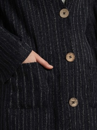 Navy Blue - Stripe - V neck Collar - Acrylic -  - Cardigan