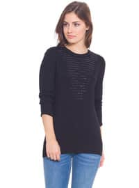 Black - Crew neck - Jumper