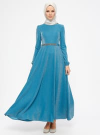 Petrol - Unlined - Crew neck - Muslim Evening Dress