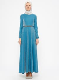 Petrol - Unlined - Crew neck - Muslim Evening Dress
