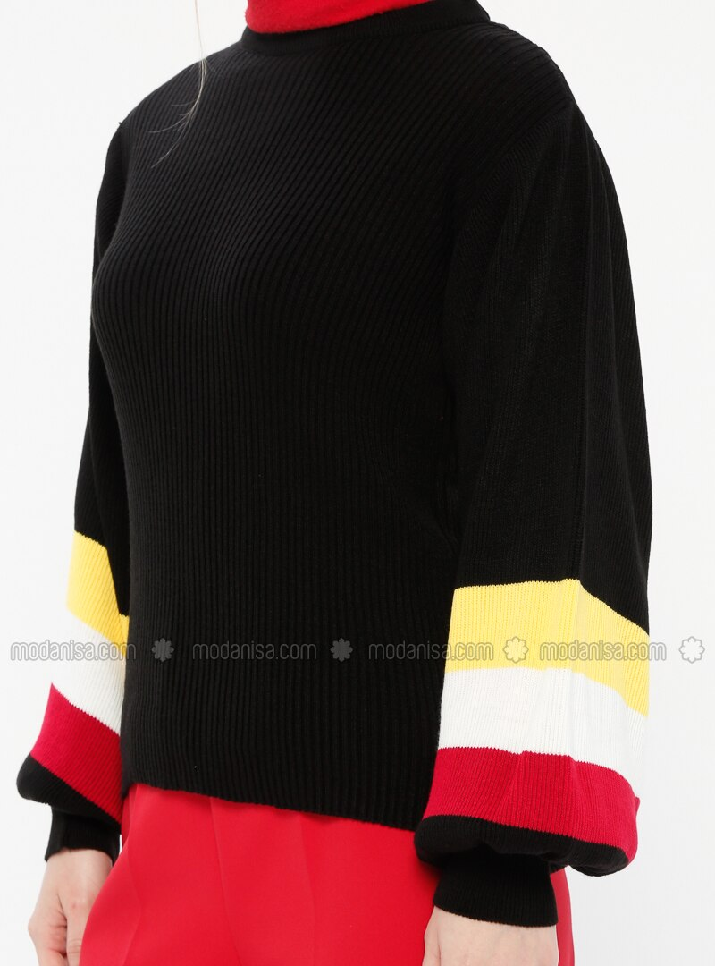 86db106868 Black - Multi - Stripe - Crew neck - Acrylic - Jumper