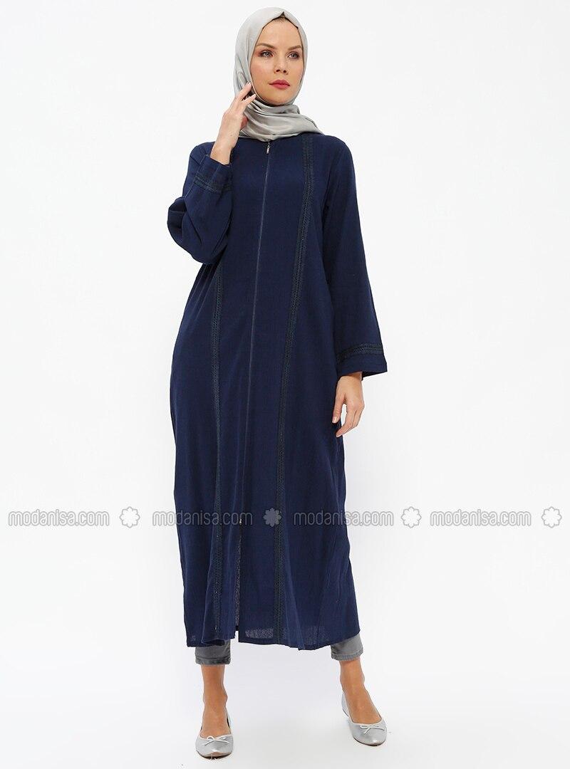 Navy Blue - Unlined - Crew neck - Cotton - Abaya