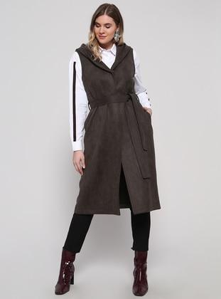 Khaki - Cotton - Plus Size Vest