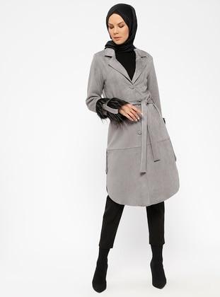 Gray - Unlined - Shawl Collar - Topcoat
