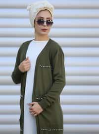 Khaki - Acrylic - Cardigan