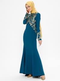 Petrol - Multi - Unlined - Crew neck - Muslim Evening Dress