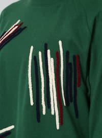 Green - Stripe - Crew neck - Tunic