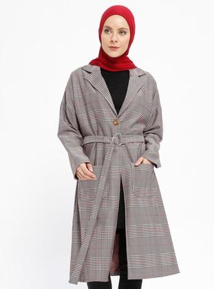 Maroon - Multi - Unlined - Shawl Collar - Topcoat