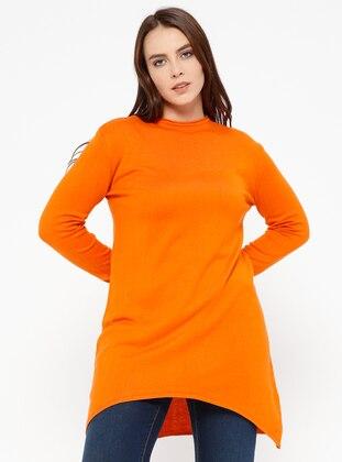 Orange - Crew neck -  - Plus Size Jumper