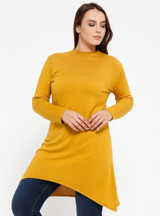 Mustard - Crew neck -  - Plus Size Jumper