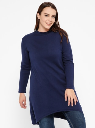 Navy Blue - Crew neck -  - Plus Size Jumper