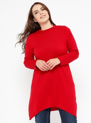 Red - Crew neck -  - Plus Size Jumper