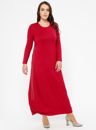 Red - Crew neck - Unlined - Plus Size Dress