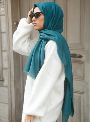 Green - Plain - Silk Blend - Cotton - Shawl - Eşarp
