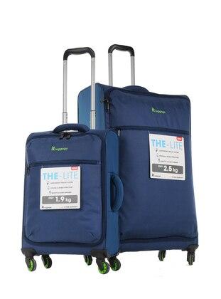 ITLUGGAGE Büyük&Kabin Boy Bavul Seti - Mavi
