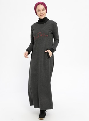 Anthracite - Smoke-coloured - Crew neck - Unlined - Cotton - Dresses