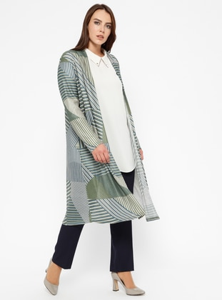 Khaki - Multi -  - Plus Size Cardigan - Efraze