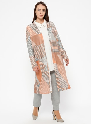 Tan - Multi -  - Plus Size Cardigan