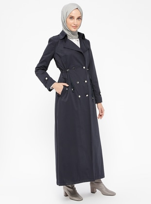 Navy Blue - Fully Lined - Shawl Collar - Cotton - Topcoat