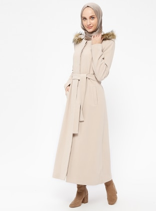 Beige - Fully Lined - Crew neck - Coat