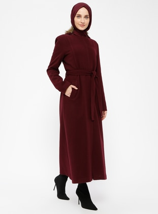 Plum - Fully Lined - Crew neck - Coat