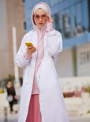 White - Unlined - Button Collar - Cotton - Trench Coat