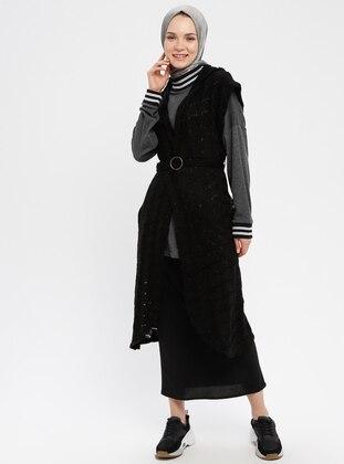 Black - Unlined - Acrylic -  - Vest