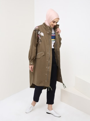 Khaki - Floral - Unlined - Point Collar - Cotton - Denim - Trench Coat