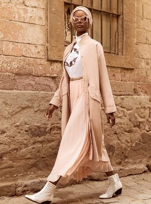 Pink - Unlined - Polo neck - Cotton - Trench Coat - Benin
