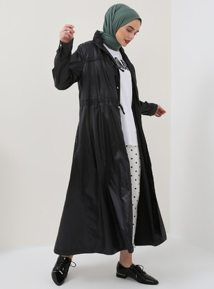Black - Unlined - Polo neck - Trench Coat - Benin