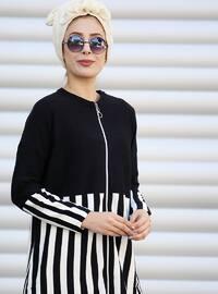 Black - Multi - Stripe - Acrylic - Cardigan