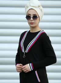 Black - Stripe - Acrylic - Cardigan