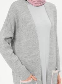 Gray - Powder - Acrylic -  - Cardigan