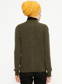 Khaki - Crew neck - Acrylic -  - Cardigan