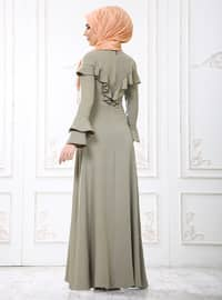 Green - Crew neck - Unlined - Dresses